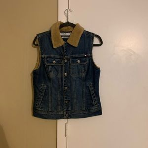 Denim Faux Fur Collar Vest